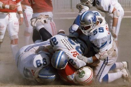 1988: un sack ai danni del quarterback degli Oaks Napoli